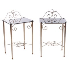 Vintage French Set Chic Bedside Tables Made of Glass and Brass