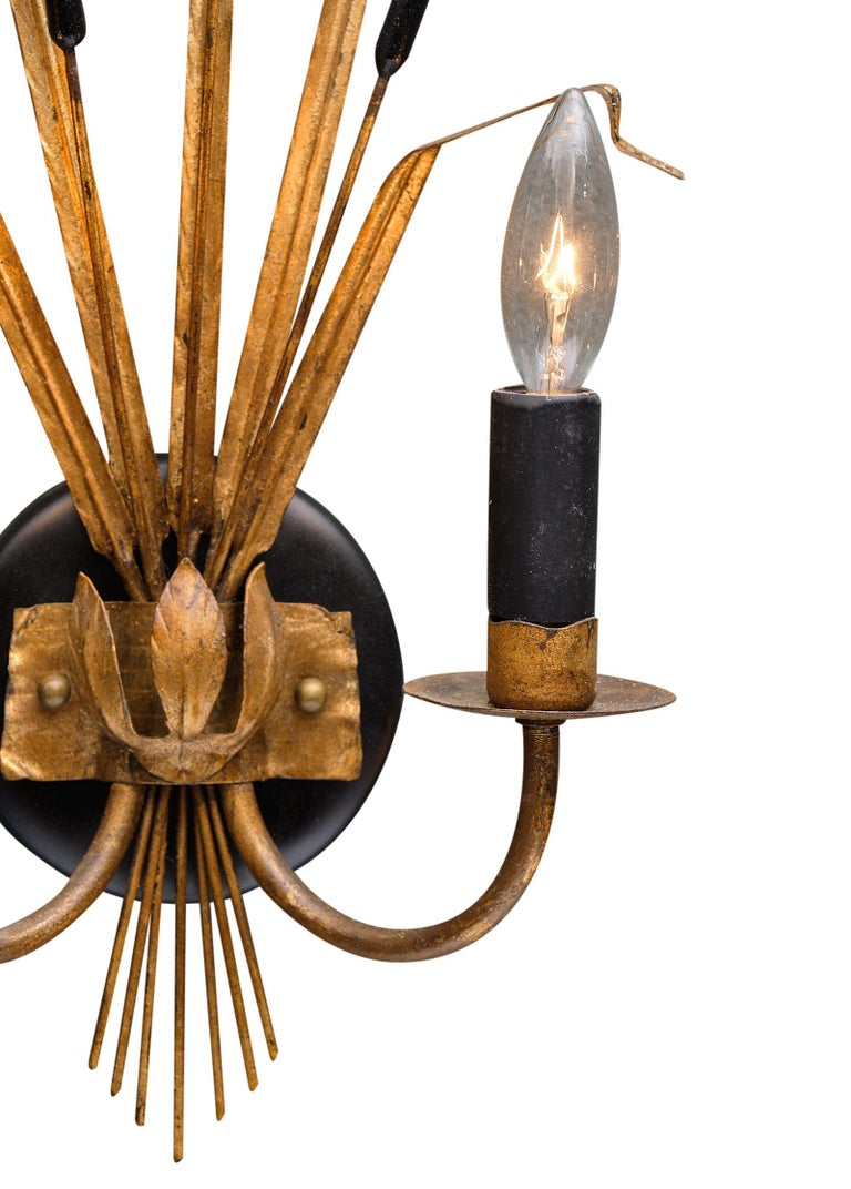 Vintage French Sheaf of Wheat Sconces by Maison Baguès In Good Condition For Sale In Austin, TX