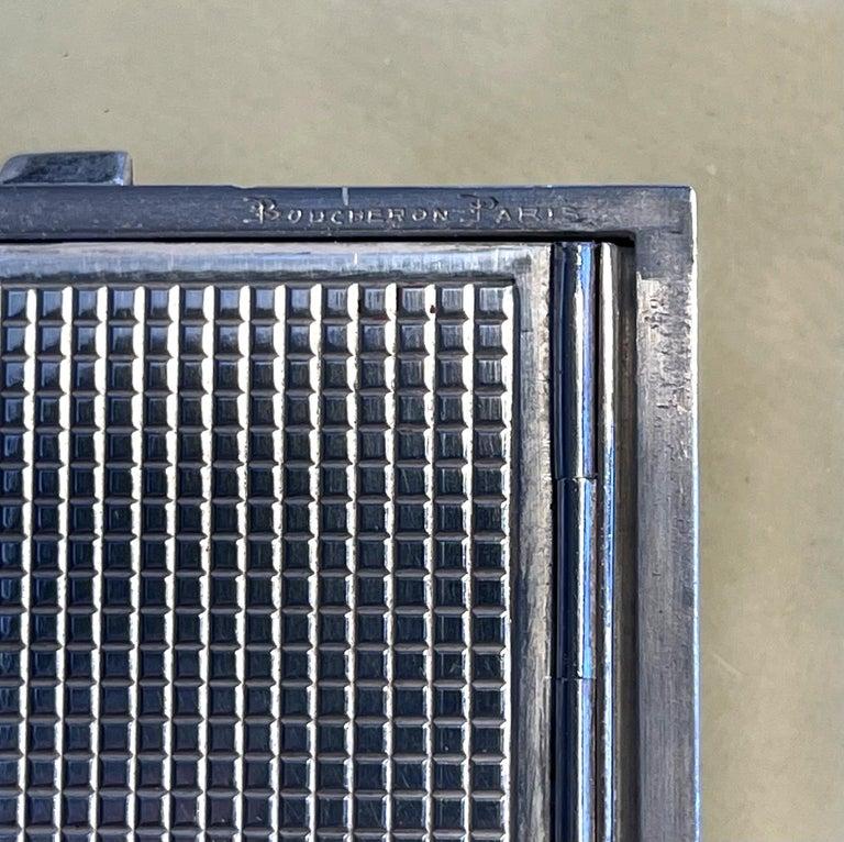 Vintage French Silver Compact Case by Boucheron, Paris For Sale 11