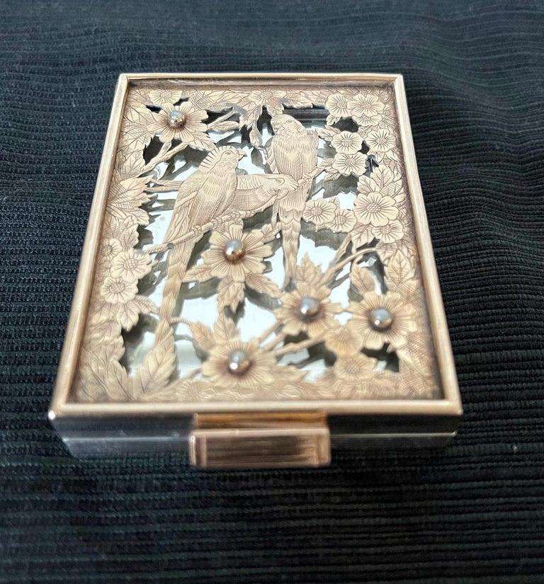 Art Deco Vintage French Silver Compact Case by Boucheron, Paris For Sale