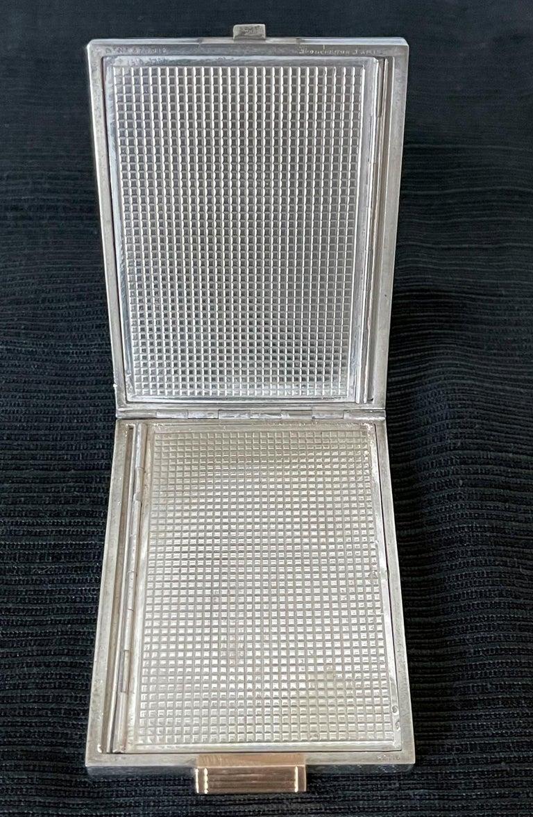 Vintage French Silver Compact Case by Boucheron, Paris For Sale 3