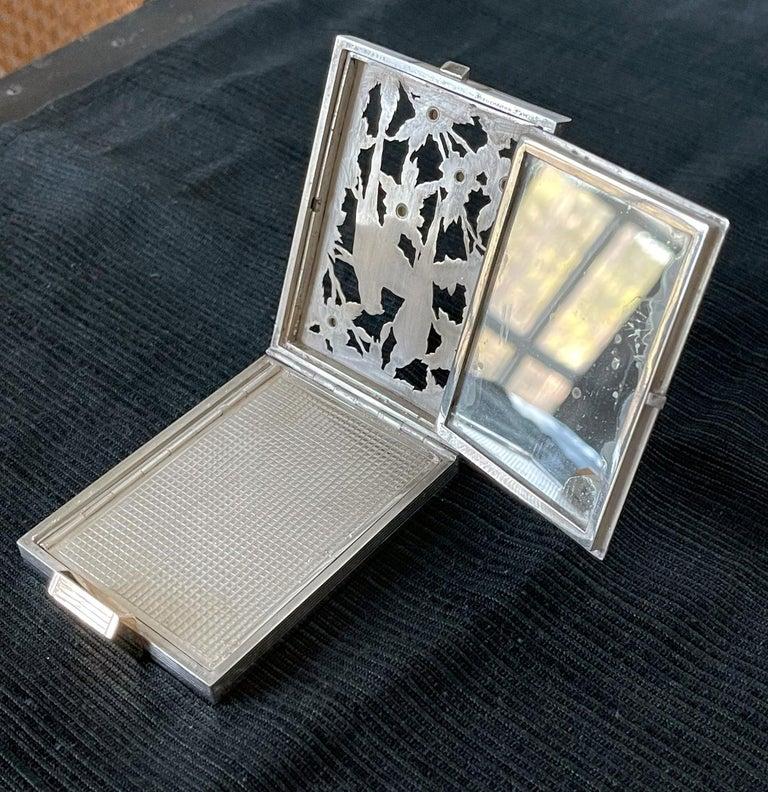 Vintage French Silver Compact Case by Boucheron, Paris For Sale 4