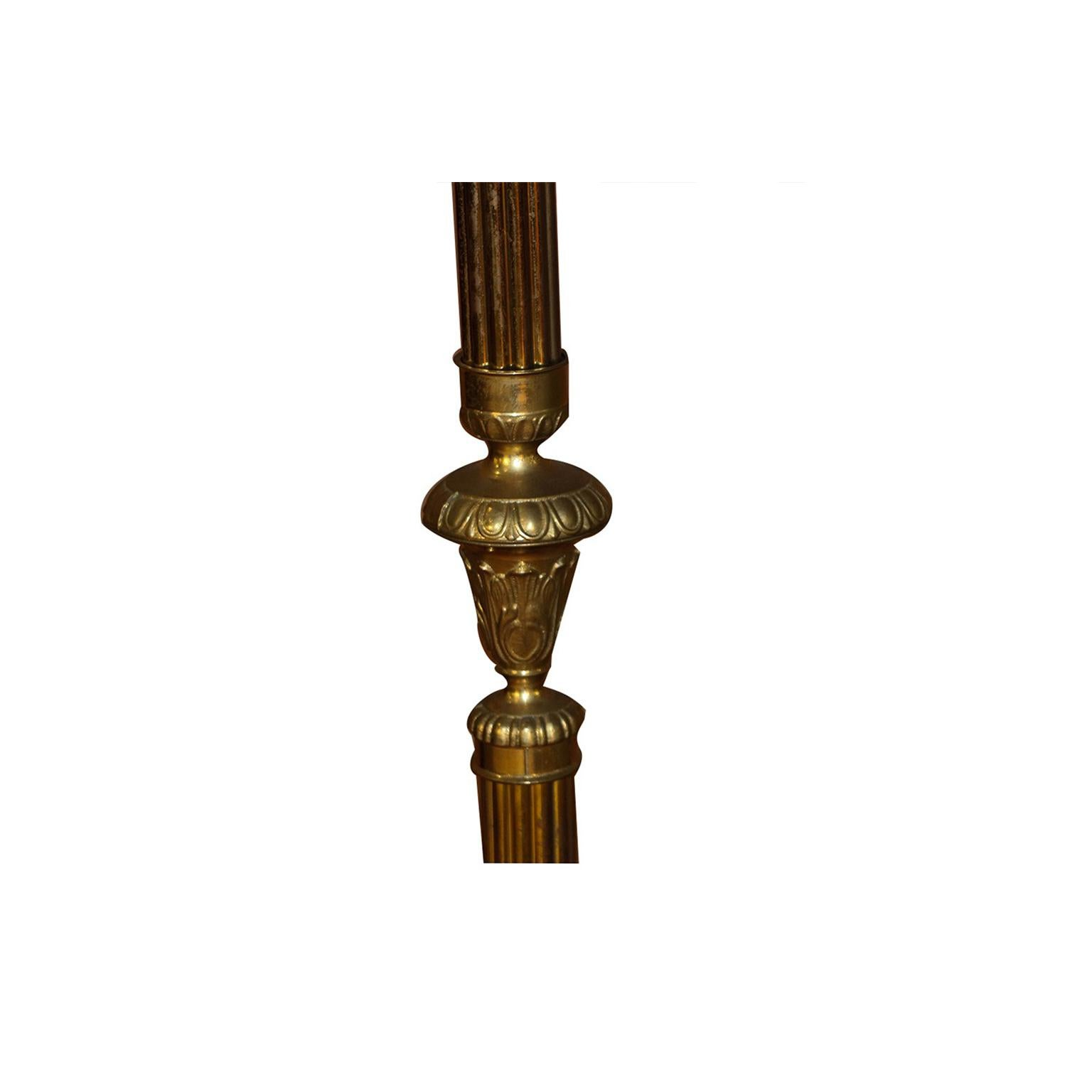 Vintage French Solid Brass Coat Stand Hat Rack
