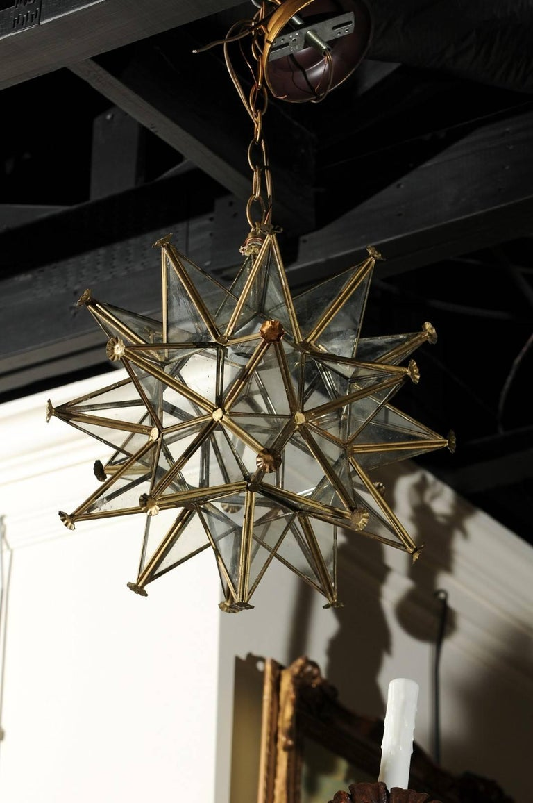 A French Vintage Star Light Fixture From The Mid 20th Century With Gilt Metal Frame