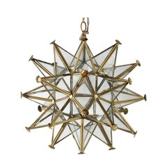Vintage French Star Light Fixture with Gilt Metal Frame and Glass Panels, 1950s