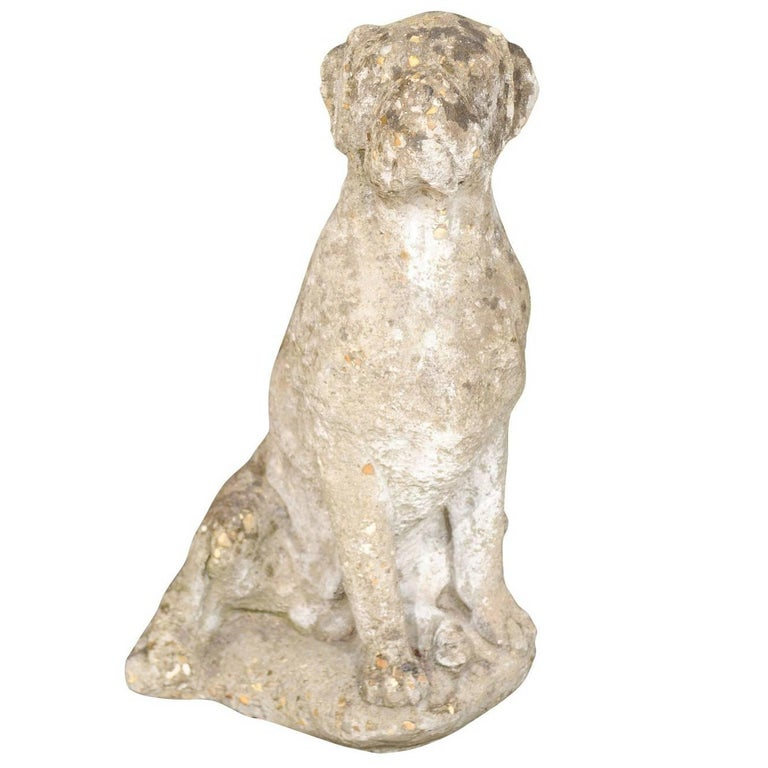 Vintage French Stone Sculpture of Dog in Sitting Position from the 1920s-1940s