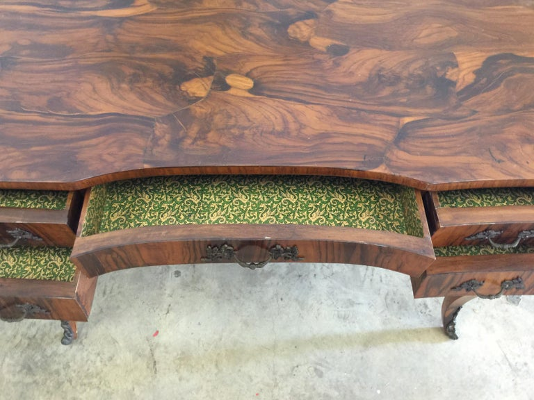 Vintage French Style Acacia Burl Desk For Sale 5
