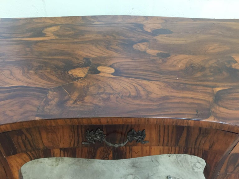 Mid-20th Century Vintage French Style Acacia Burl Desk For Sale