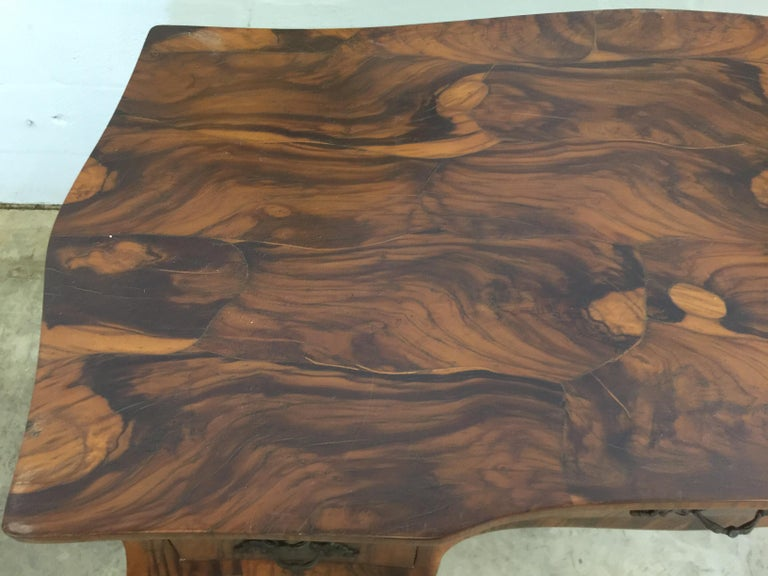 Wood Vintage French Style Acacia Burl Desk For Sale