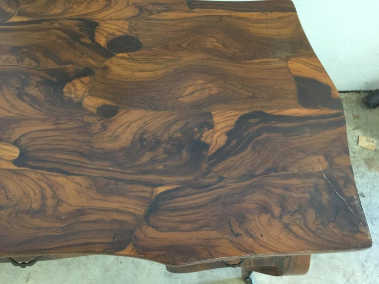 Vintage French Style Acacia Burl Desk For Sale 1