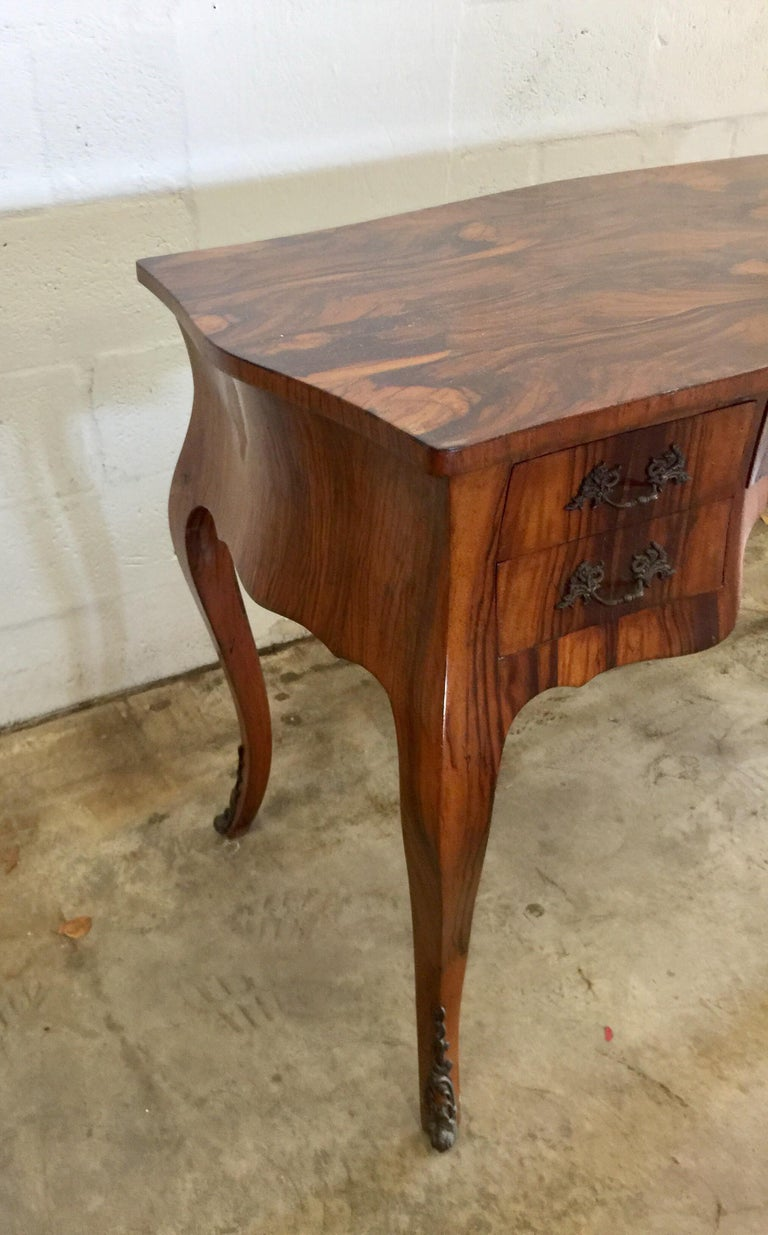 Vintage French Style Acacia Burl Desk For Sale 2