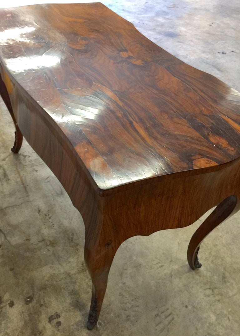 Vintage French Style Acacia Burl Desk For Sale 3