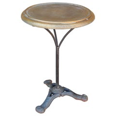 Vintage French Style Bistro Table with Metal Brass Top on Iron Base