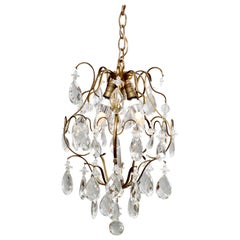 Vintage French Style Brass & Crystal Hanging Hall Light, circa 1940