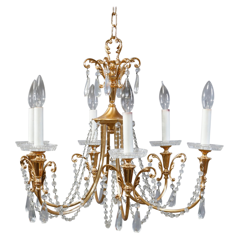 Vintage French Style Brass & Strung Crystal Six-Light Foliate Chandelier, c1940