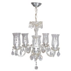 Vintage French Style Cut Crystal and Chrome 5-Arm Chandelier, circa 1950