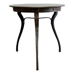 Vintage French Style Metal Table with Ribbon Carving