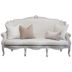 Vintage French Style Painted and Upholstered Sofa