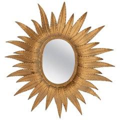 Vintage French Sunflower Mirror, c.1930