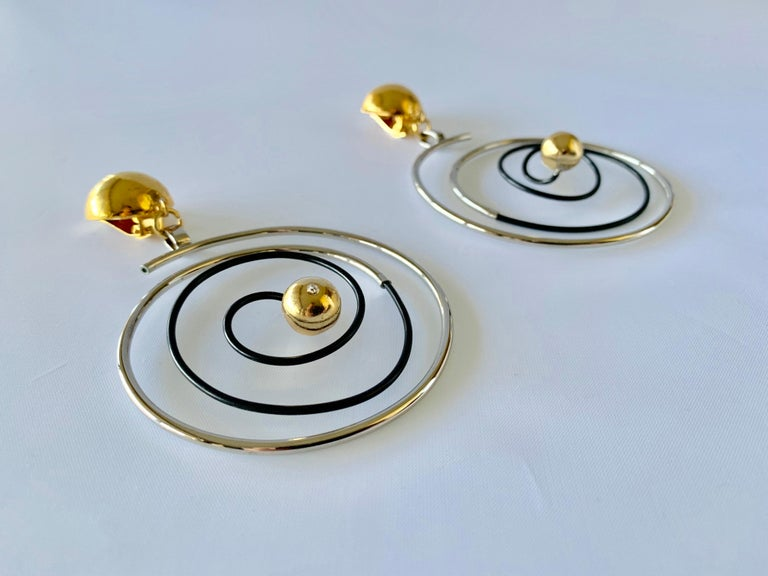 Vintage French Swirl Mod Opt Art Statement Earrings For Sale 5