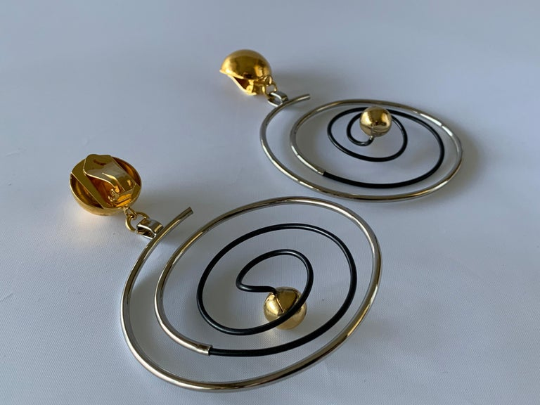Vintage French Swirl Mod Opt Art Statement Earrings For Sale 7