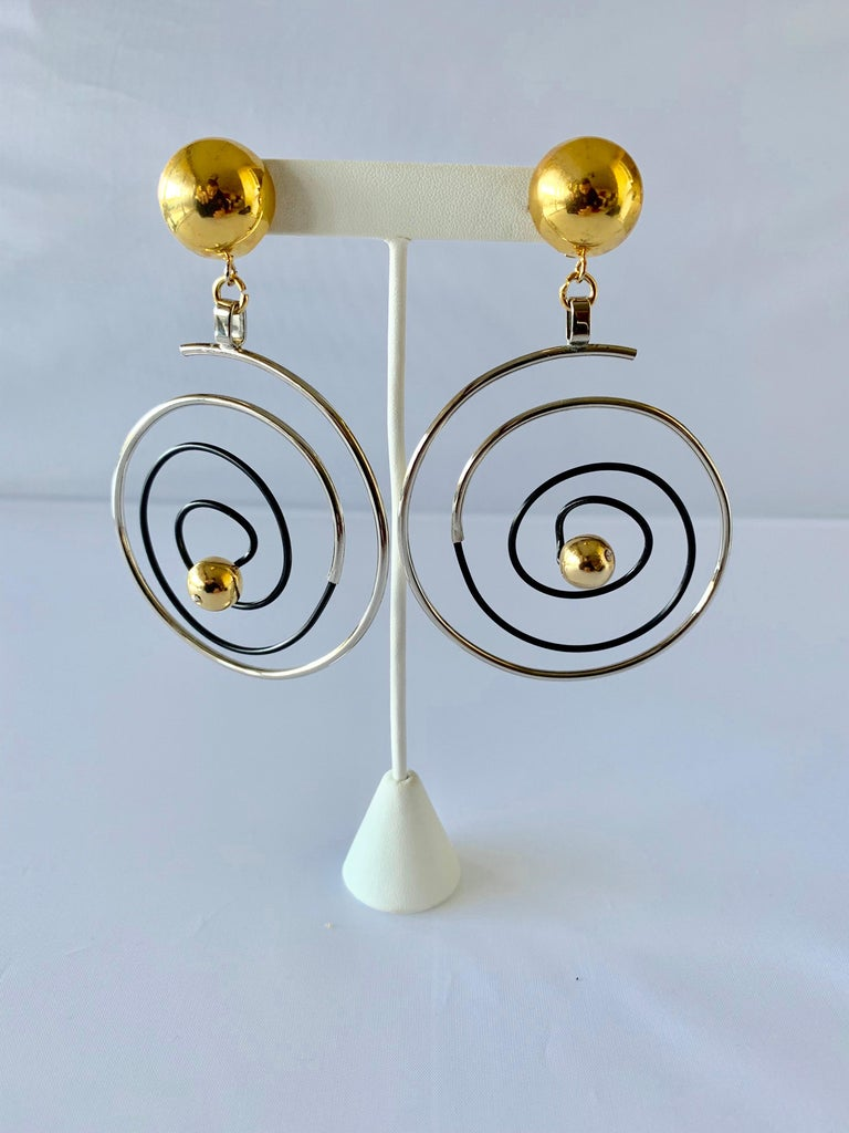 Vintage French Swirl Mod Opt Art Statement Earrings For Sale 4