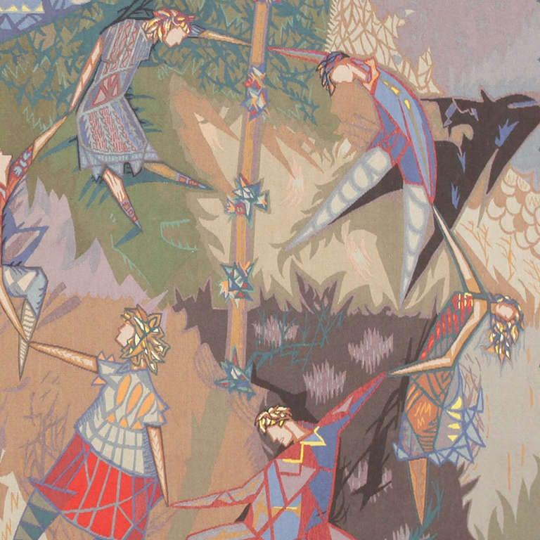 Folk Art Vintage French Tapestry by Pinton Freres Gynning