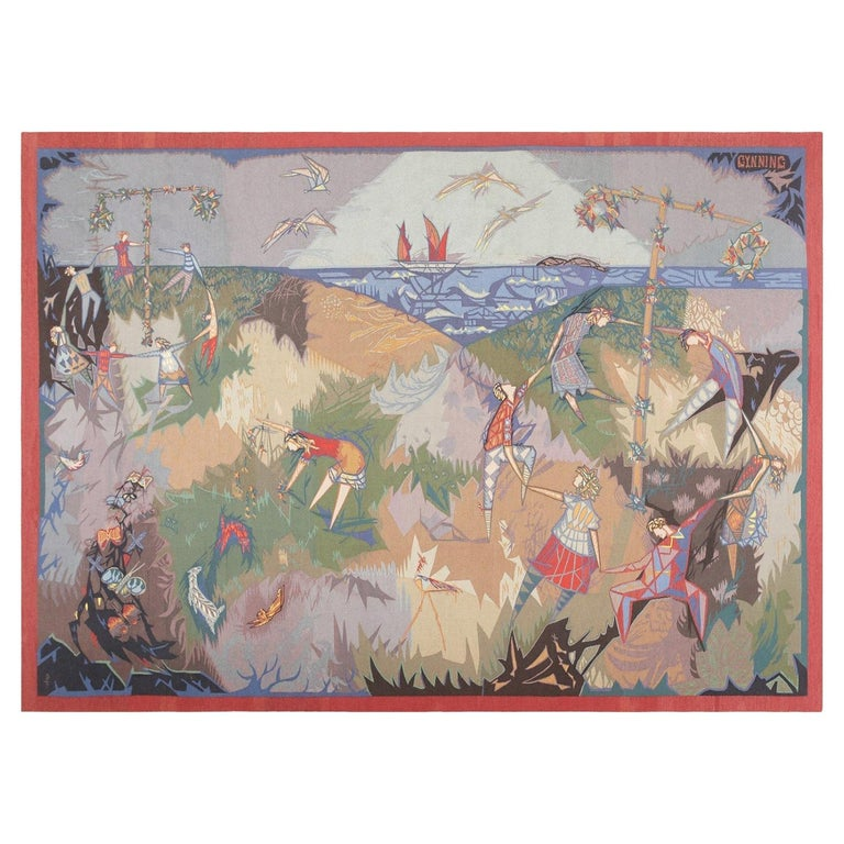 """Vintage French Tapestry by Pinton Freres Gynning """"Mid Summer Dance"""" For Sale"""