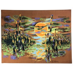 Vintage French Tapestry or Wall Hanging by Robert Debieve, Certified