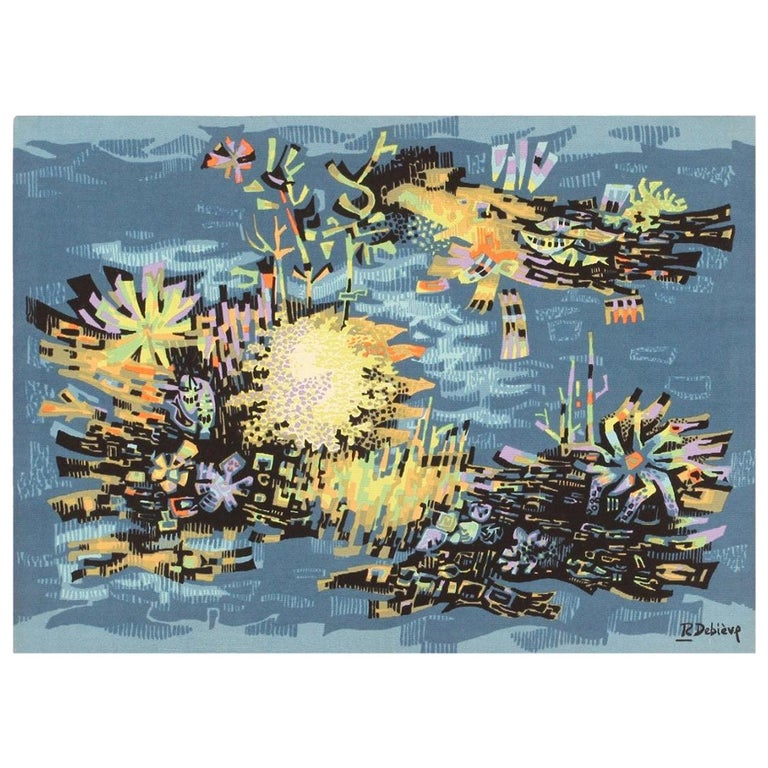Vintage French Tapestry. Size: 3 ft 7 in x 5 ft (1.09 m x 1.52 m) For Sale