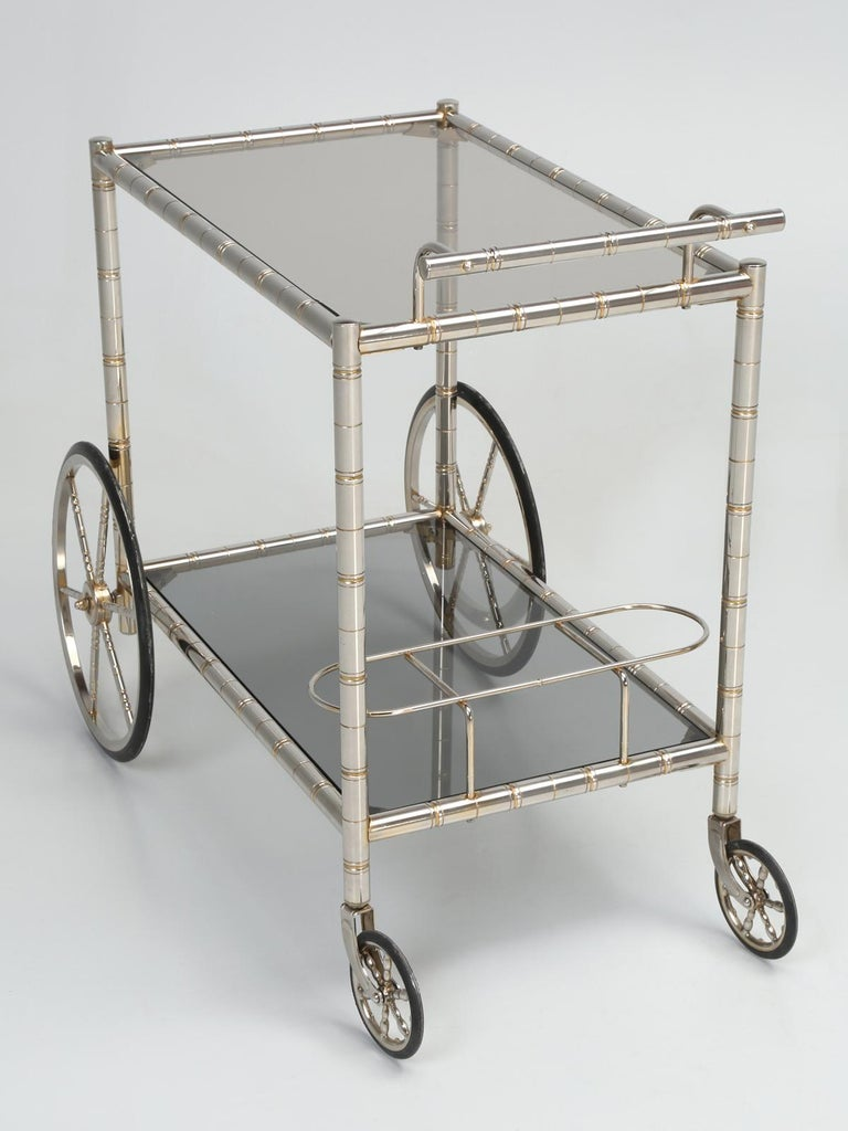 Vintage French Tea Cart or Bar Cart in a Worn Brass-Plated Steel For Sale 6