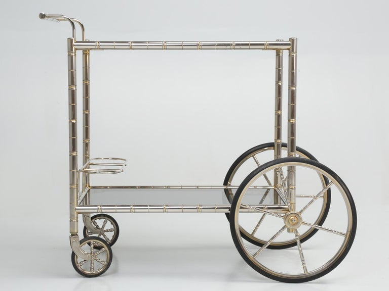 Vintage French Tea Cart or Bar Cart in a Worn Brass-Plated Steel For Sale 7