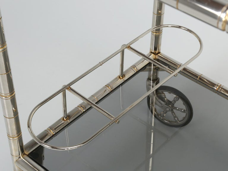 Vintage French Tea Cart or Bar Cart in a Worn Brass-Plated Steel For Sale 11