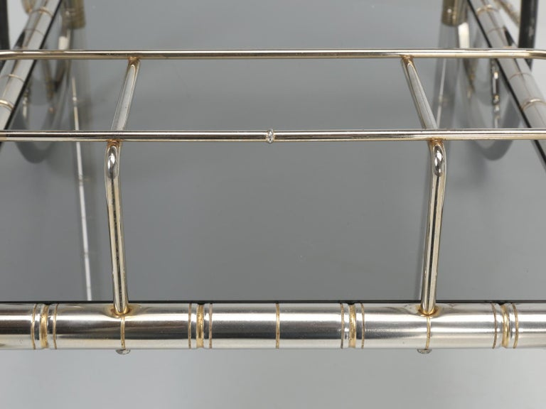 Vintage French Tea Cart or Bar Cart in a Worn Brass-Plated Steel For Sale 13