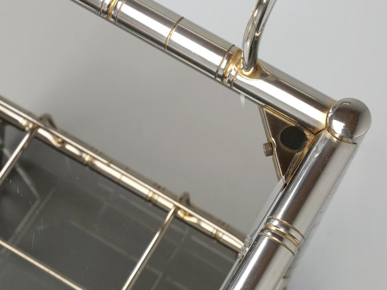 Vintage French Tea Cart or Bar Cart in a Worn Brass-Plated Steel In Good Condition For Sale In Chicago, IL