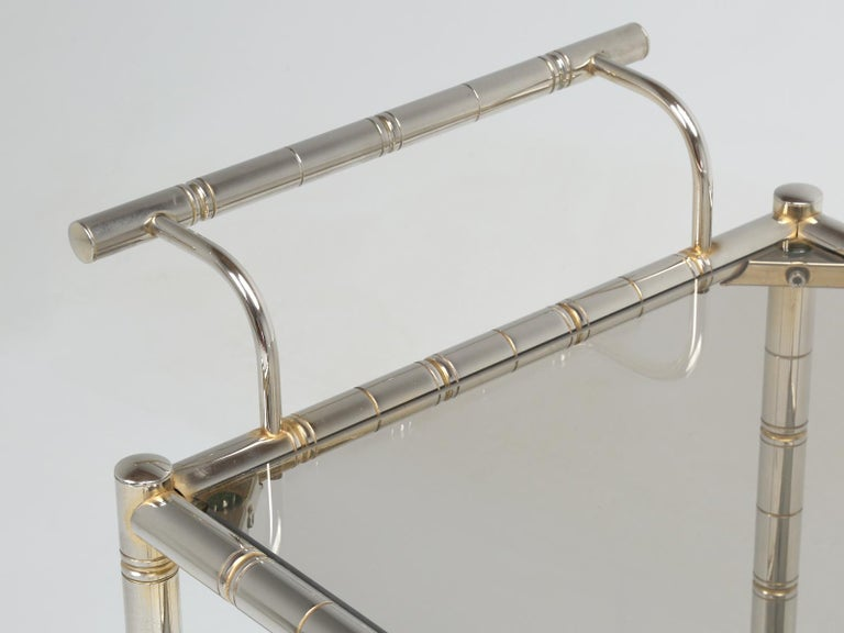 Vintage French Tea Cart or Bar Cart in a Worn Brass-Plated Steel For Sale 3