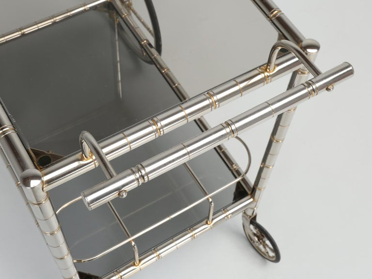 Vintage French Tea Cart or Bar Cart in a Worn Brass-Plated Steel For Sale 4