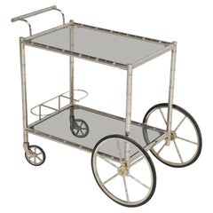 Vintage French Tea Cart or Bar Cart in a Worn Brass-Plated Steel
