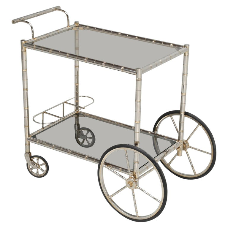 Vintage French Tea Cart or Bar Cart in a Worn Brass-Plated Steel For Sale
