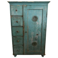 Vintage French Teal Wood Cabinet