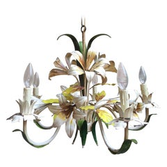 Vintage French Tole Flower Chandelier Light Fixture 5 Lamp Lily Metal Toleware