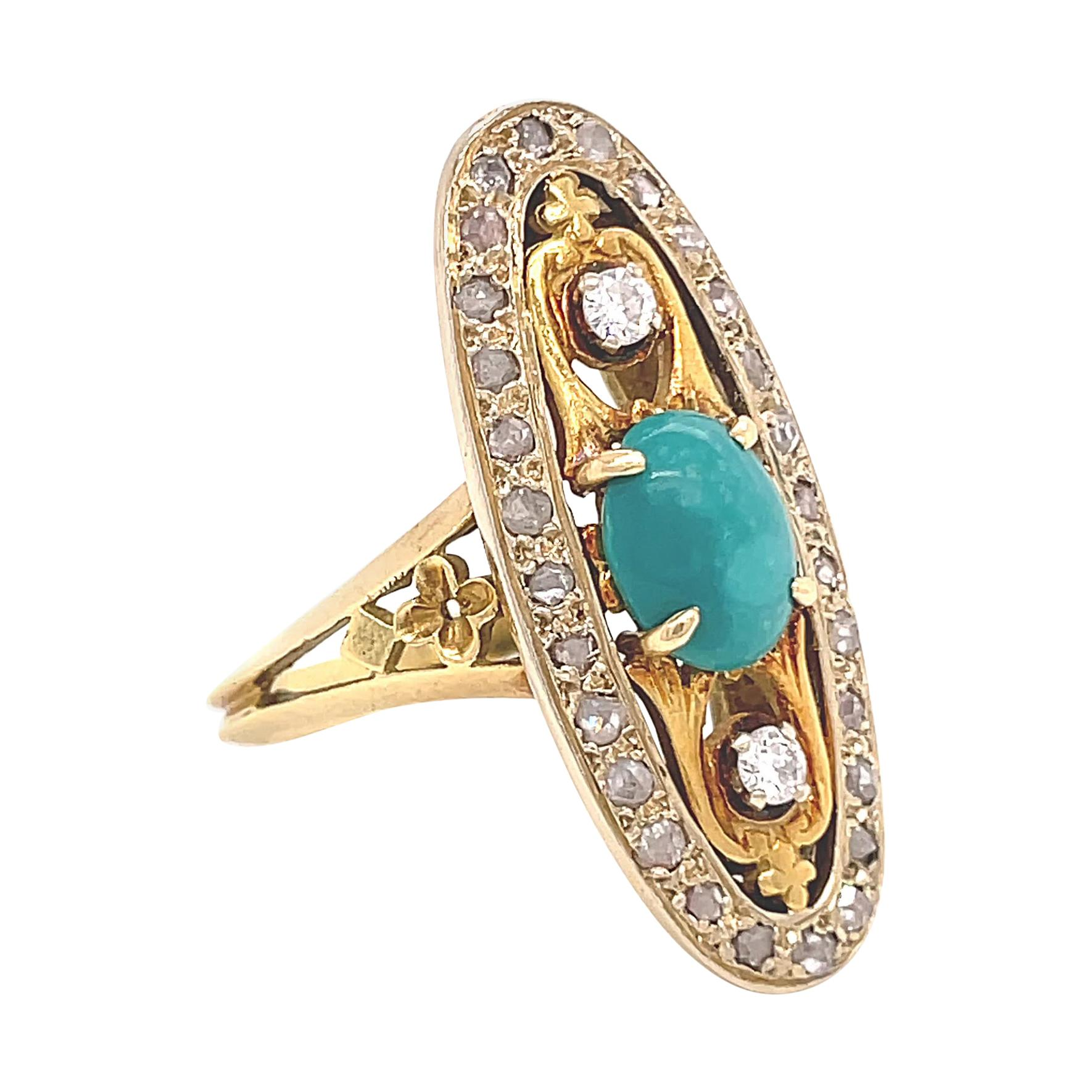 Vintage French Turquoise Diamond Gold Ring