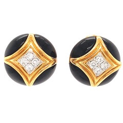 Vintage French VCA Diamond Onyx 18 Karat Gold Button Clip On Earrings