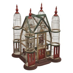 Vintage French Victorian Large Wooden Antique Painted Cathedral Domed Birdcage