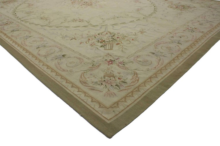Vintage French Victorian Style Area Rug With Aubusson