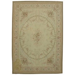 Vintage French Victorian Style Area Rug with Aubusson Design