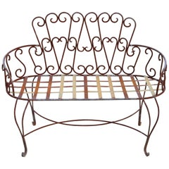Vintage French Victorian Style Wrought Iron Heart Back Garden Settee Bench