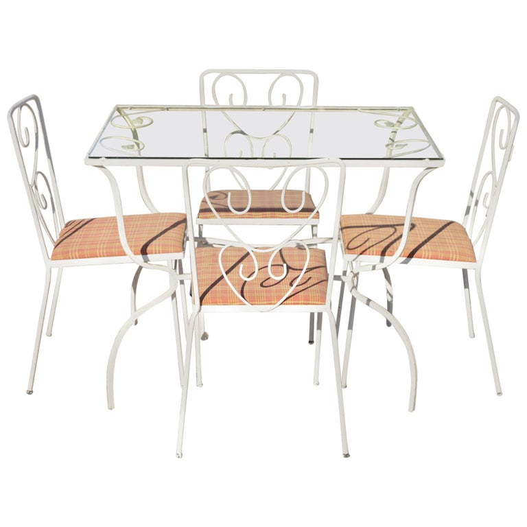 Vintage French Victorian Wrought Iron Flower Garden Patio Dining Set, 5pc Set For Sale