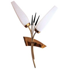 Vintage French Wall Sconce in Polished Brass with Black and White Glass, 1950s