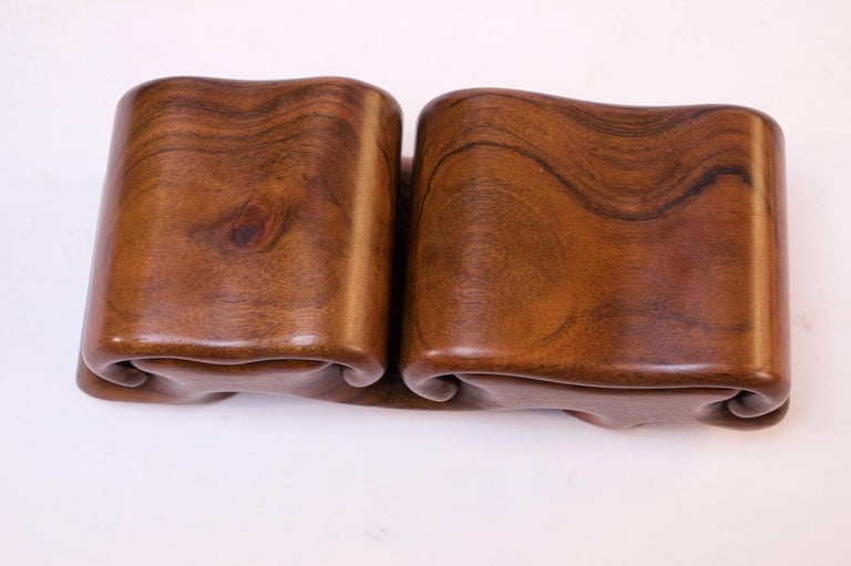 American Vintage French Walnut 'Mushroom' Jewelry Puzzle Box by Fred Buss For Sale